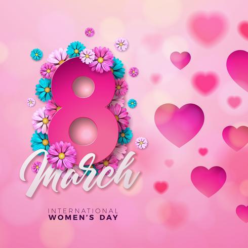 Tarjeta de felicitación floral del día feliz de la mujer