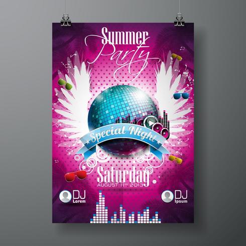 Vector Summer Beach Party Flyer Design