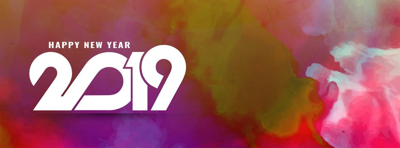 Abstrakte stilvolle Fahnenschablone des neuen Jahres 2019