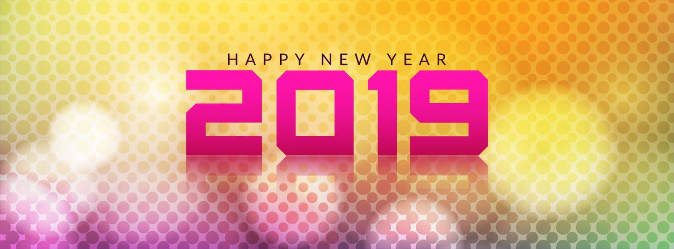 Happy New Year 2019 decorative banner template