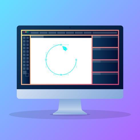 Grafische ontwerpsoftware Flat Vector Icon Illustration