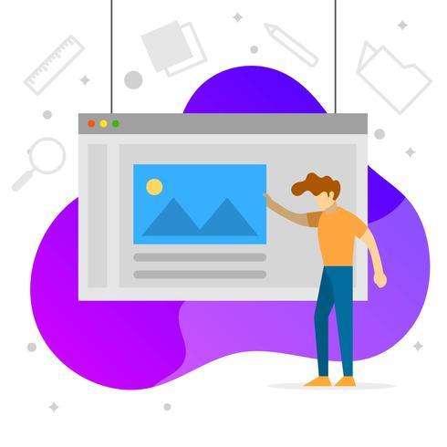 Diseño gráfico plano ilustración de vector de desarrollo de software