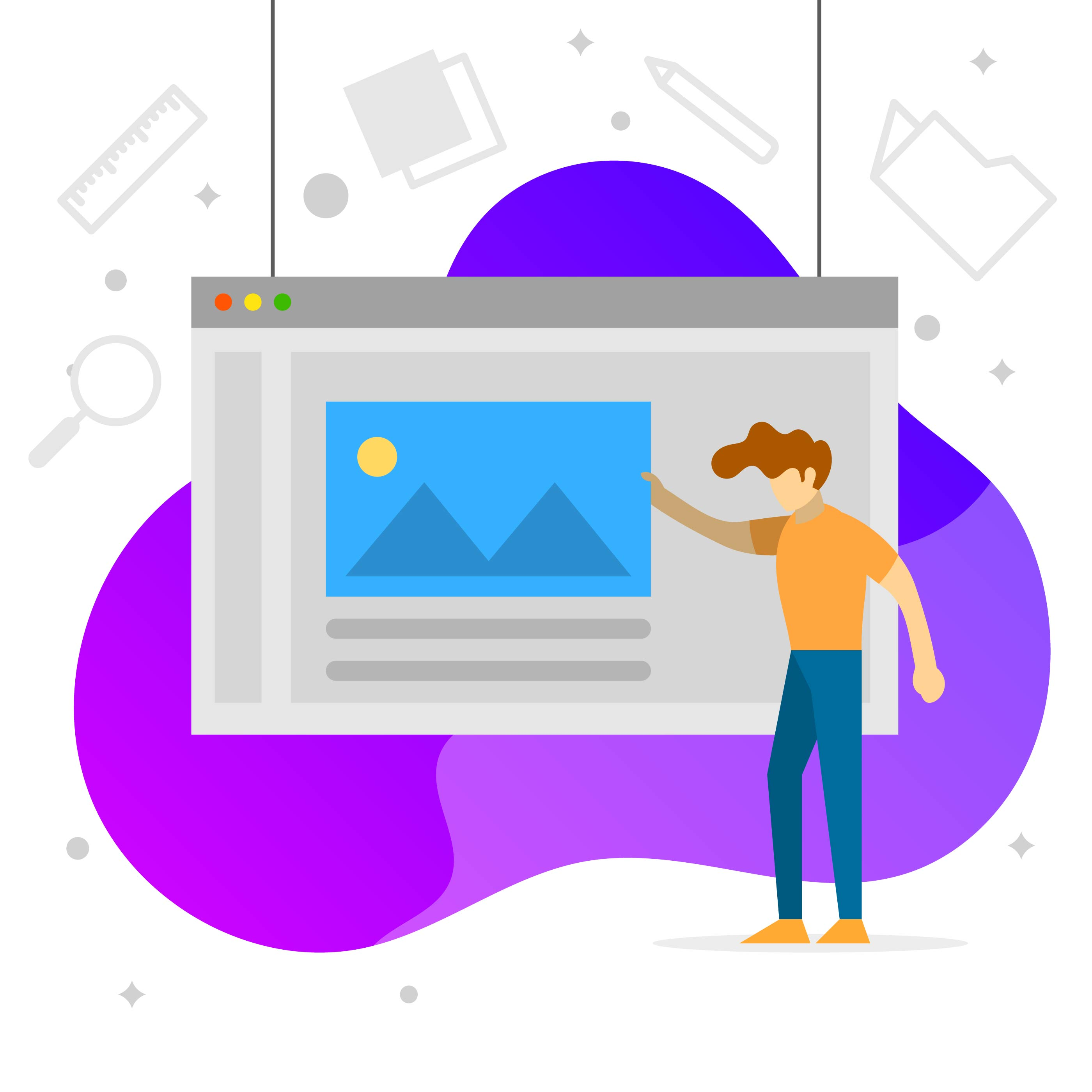 Flat Graphic Design Software Development Vector