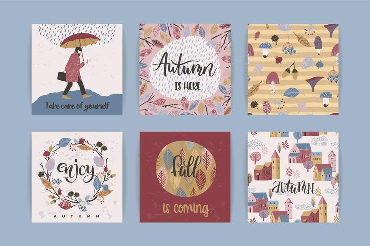 Conjunto de tarjetas de otoño creativas artísticas. Dibujado a mano texturas y letras de pincel.