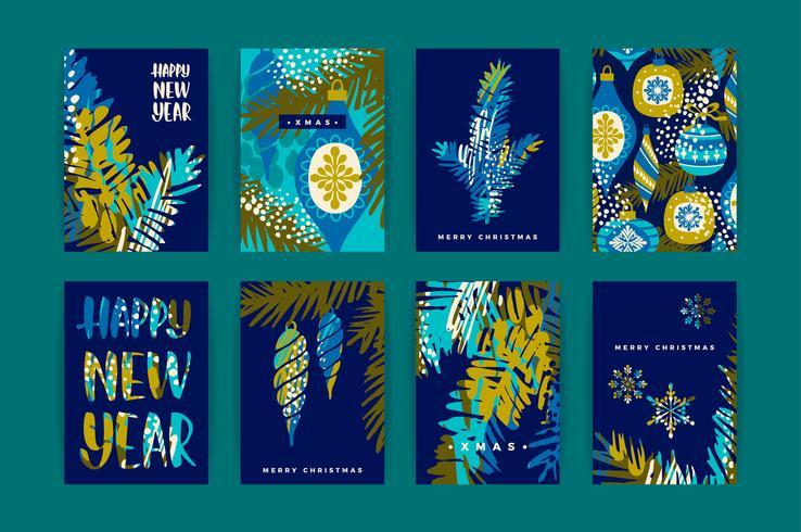 Set di carte artistiche creative di buon Natale e anno nuovo.