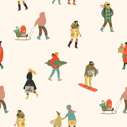 Christmas and Happy New Year seamless pattern whit people. Trendy retro style.