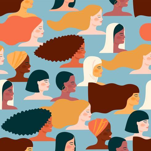 Día Internacional de la Mujer. Patrón transparente de vector con diferentes nacionalidades y culturas.
