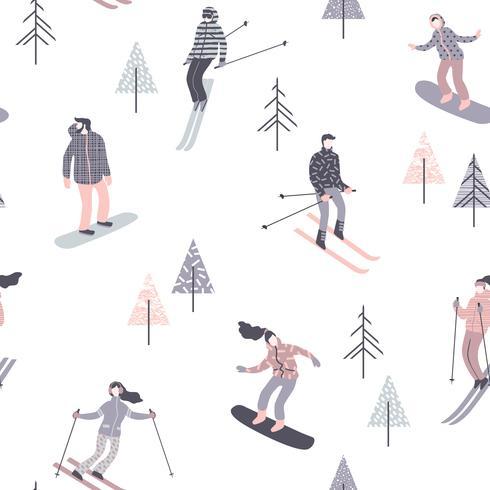 Illustrazione vettoriale di sciatori e snowboarder. Modello senza soluzione di continuità