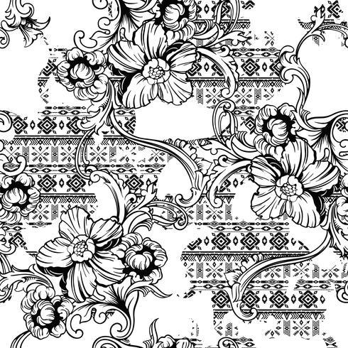 Tejido ecléctico sin patrón. Origen étnico con adornos barrocos.