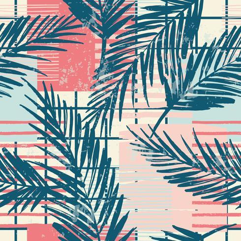 Modello esotico senza cuciture alla moda con palme ed elementi geometrici.