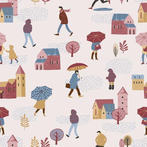 Ilustración del vector de la ciudad en la lluvia. Estado de ánimo de otoño.