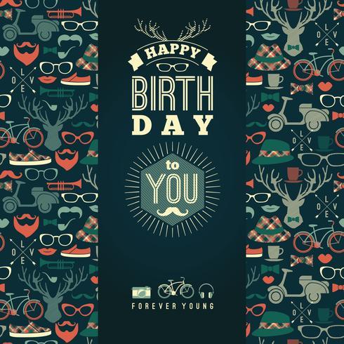 Félicitations de joyeux anniversaire, fond rétro vintage avec Salut