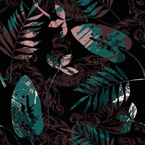 Eclectic seamless pattern with spray paint, Baroque ornament and leaves. vector