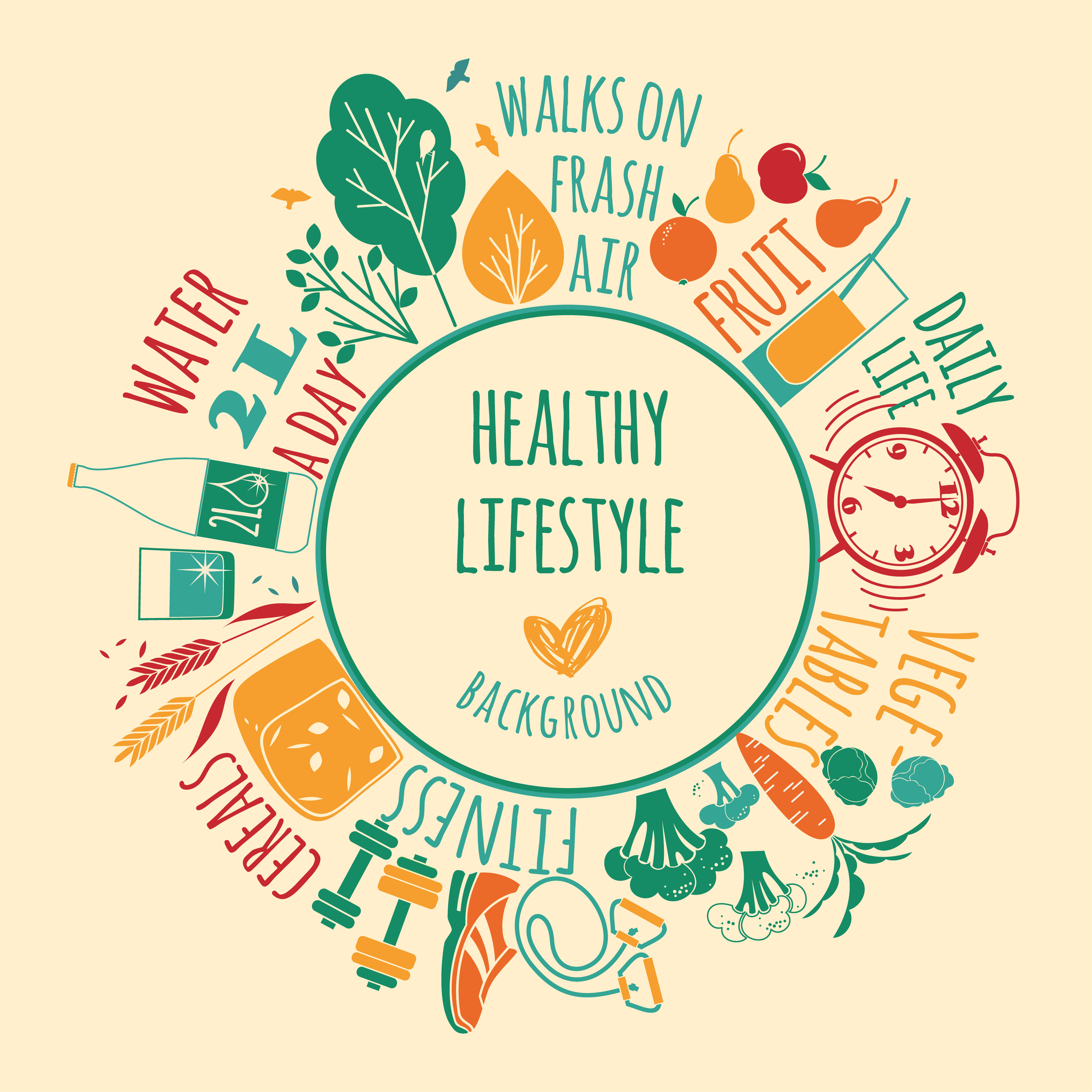 Lifestyle: Vector Illustration Of Healthy Lifestyle.
