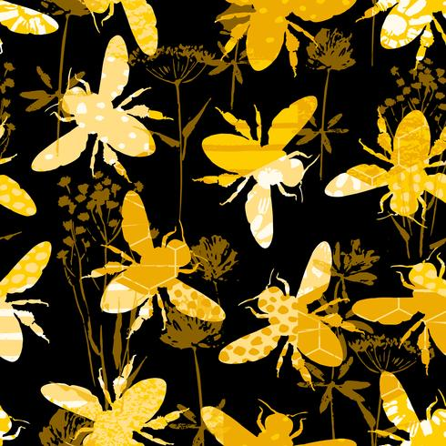 Seamless geometric pattern with bee. vector