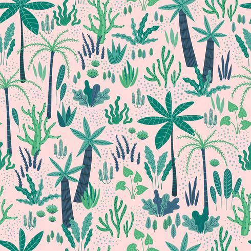 Modèle sans couture avec des plantes tropicales abstraites. Conception de vecteur.