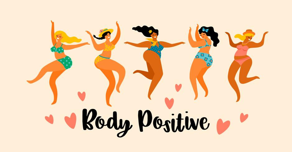 Body positive. Happy plus size girls are dancing. vector