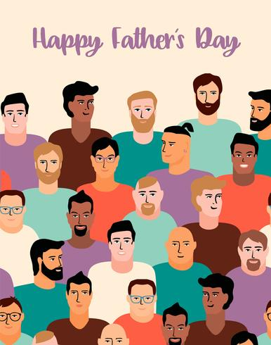 Happy Fathers Day. Vector illustration with men faces.