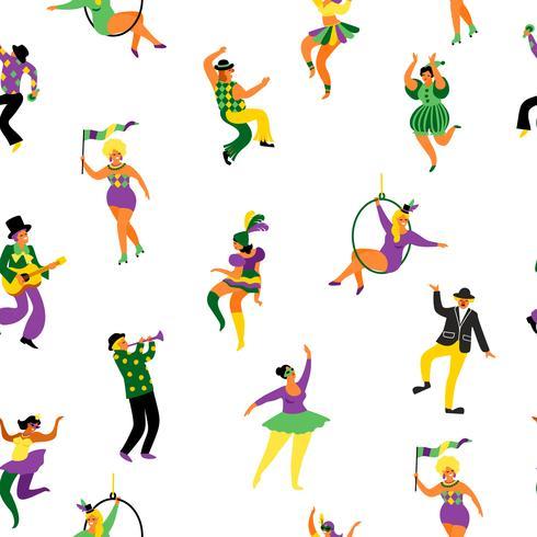Karneval. Nahtloses Muster mit lustigen Tanzenmännern und -frauen in den hellen Kostümen