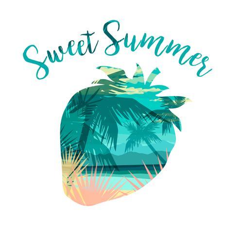 Stampa estiva spiaggia tropicale con slogan per magliette, poster, cartoline e altri usi. vettore