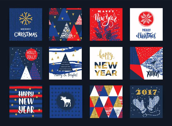 Set di carte artistiche creative di Buon Natale e Capodanno.