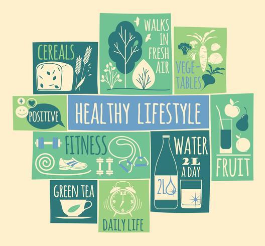 Conjunto de iconos de estilo de vida saludable