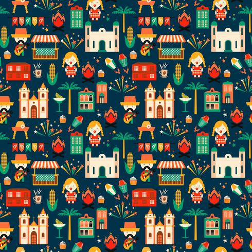 Latin American holiday, the June party of Brazil. Flat seamless pattern vector
