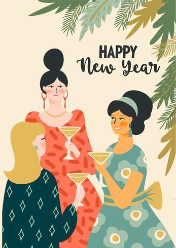 Navidad y feliz año nuevo ilustración mujeres jóvenes bebiendo champán.