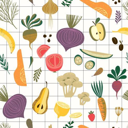 Vektornahtloses Muster mit Gemüse und Frucht.