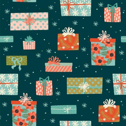 Nahtloses Muster des Weihnachten und des guten Rutsch ins Neue Jahr mit Geschenkboxen.