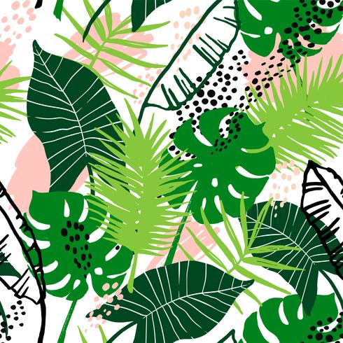 Seamless exotic pattern with tropical plants. vector
