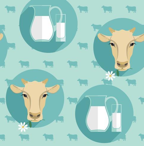Ejemplo inconsútil del diseño plano moderno del vector de la leche.