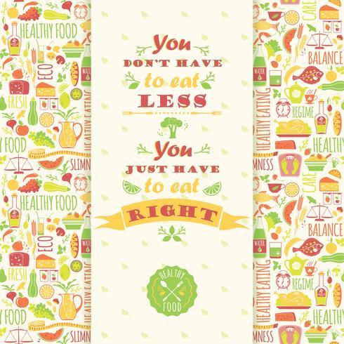 Saudável comer fundo com citação.