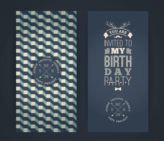 Invitation de joyeux anniversaire, fond rétro vintage avec geometr