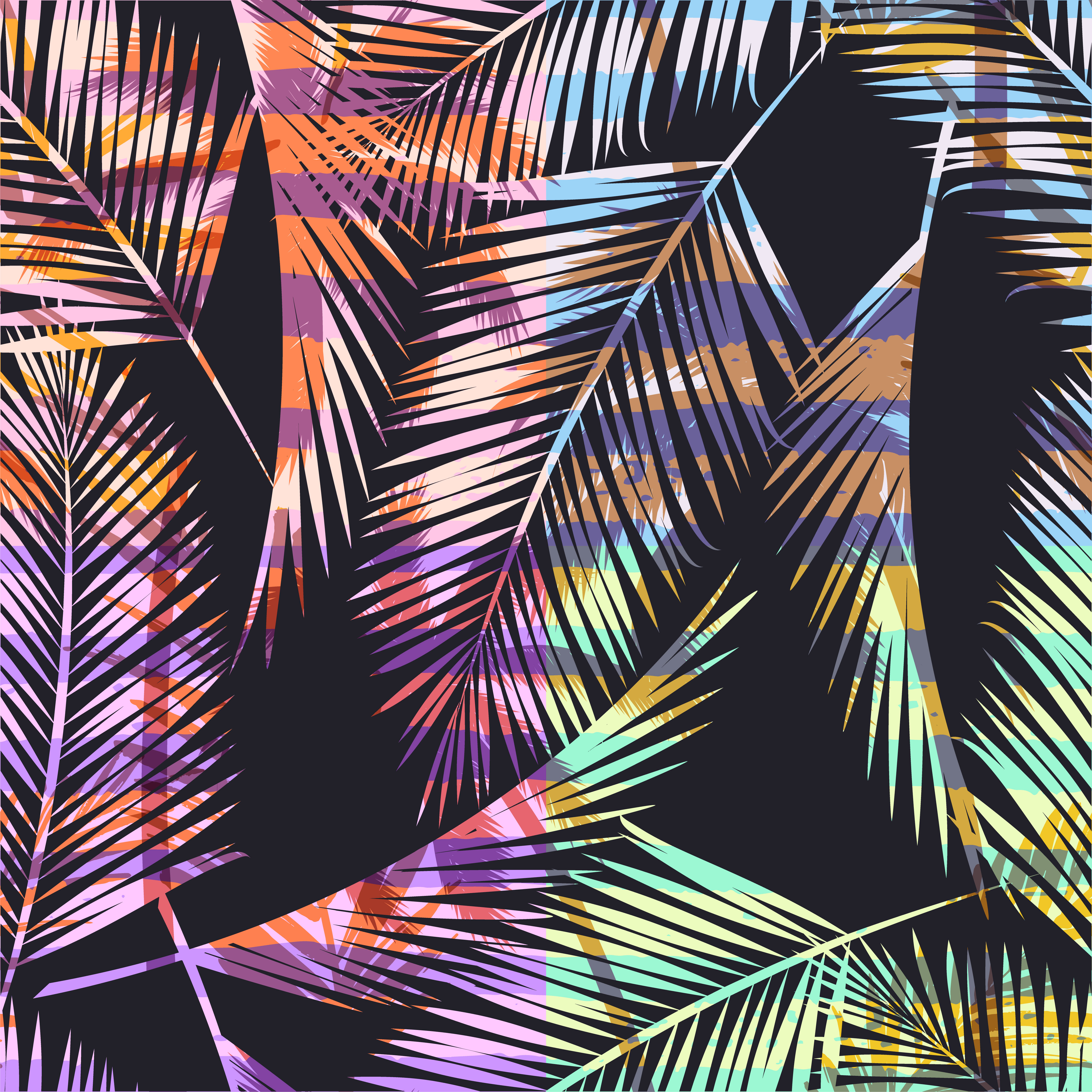 Seamless Exotic Pattern With Tropical Palm In Bright Color