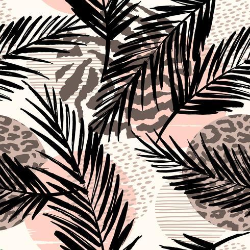 Resumo padrão sem emenda com animal print, plantas tropicais e formas geométricas.