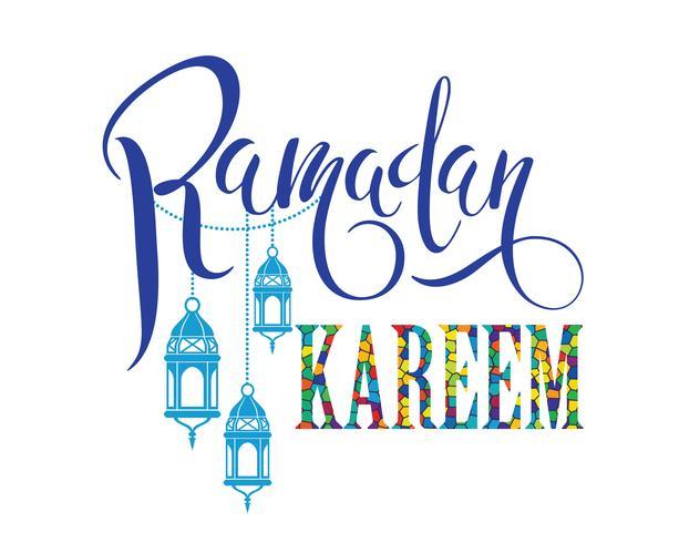 Ramadan Kareem. Diseño de letras vector