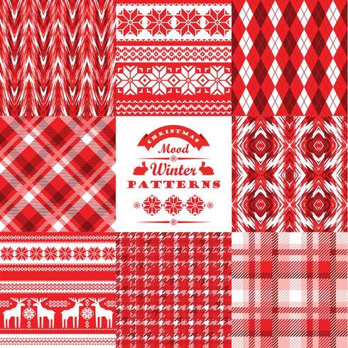 Jul och nyår Set.Plaid och prydnadsfritt sömlöst backgro