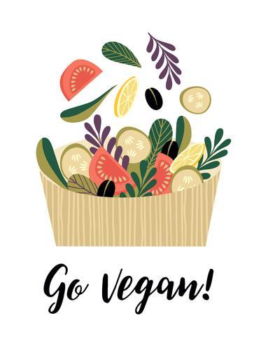 Vektor illustration av grönsakssallad.