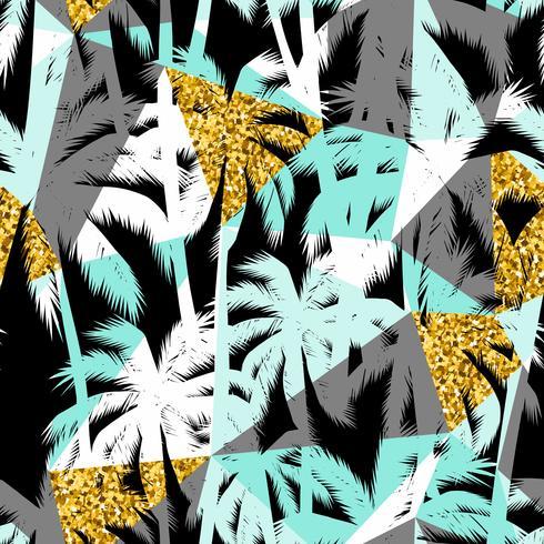 Seamless exotiskt mönster med palmblad silhuetter. Guld glitter konsistens.