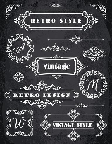 Set of Retro Vintage Badges, Frames, Labels and Borders. Chalk Board Background vector