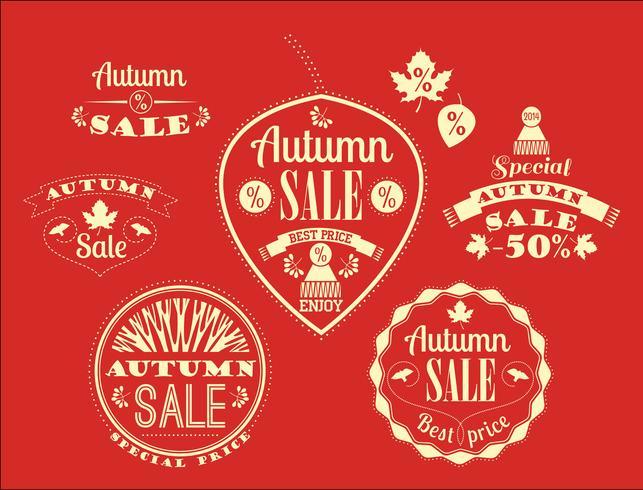 Conjunto de etiquetas de venta de otoño y signos