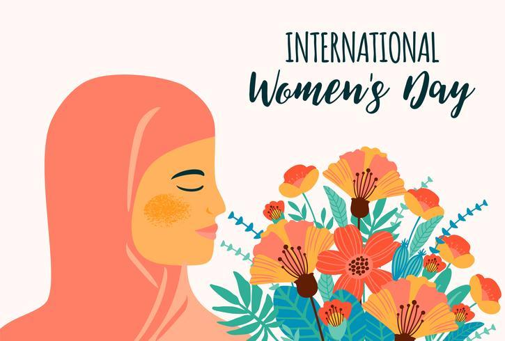 Internationella kvinnodagen. Vektor mall med arabisk kvinna och blommor