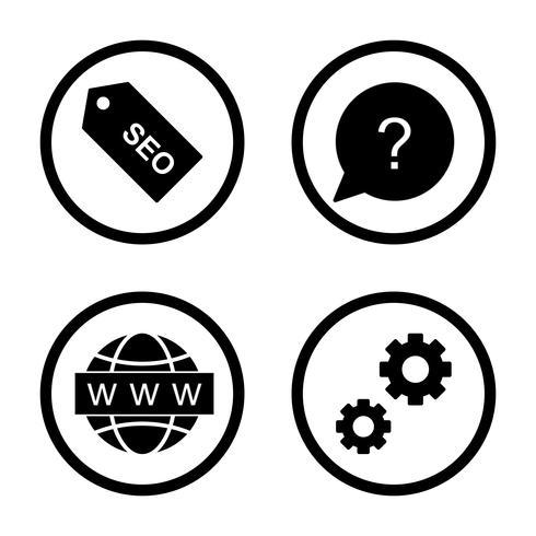 Set di icone di ottimizzazione del motore di ricerca Vector SEO