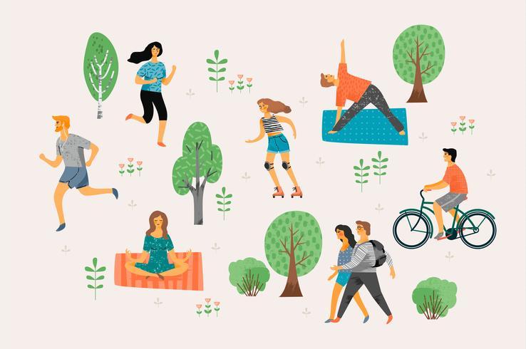 Vektor illustration med aktiva ungdomar.