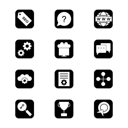 Conjunto de vectores SEO posicionamiento en buscadores iconos de optimización