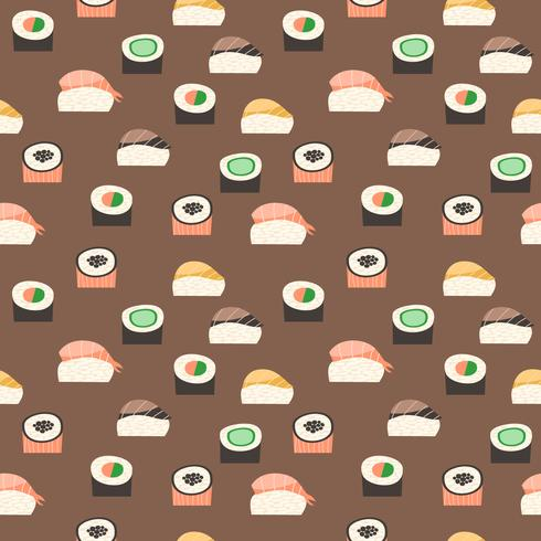 Patrón sin fisuras con diferentes tipos de sushi.