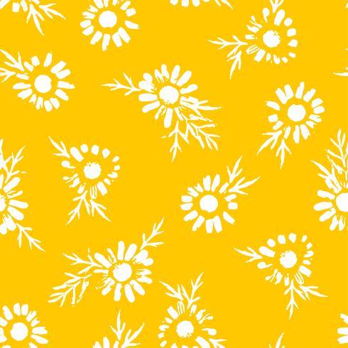Astratto motivo floreale senza soluzione di continuità con la camomilla. Trame disegnate a mano alla moda