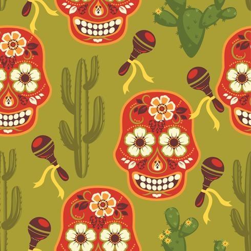 Modèle sans couture de vecteur avec les symboles mexicains traditionnels.