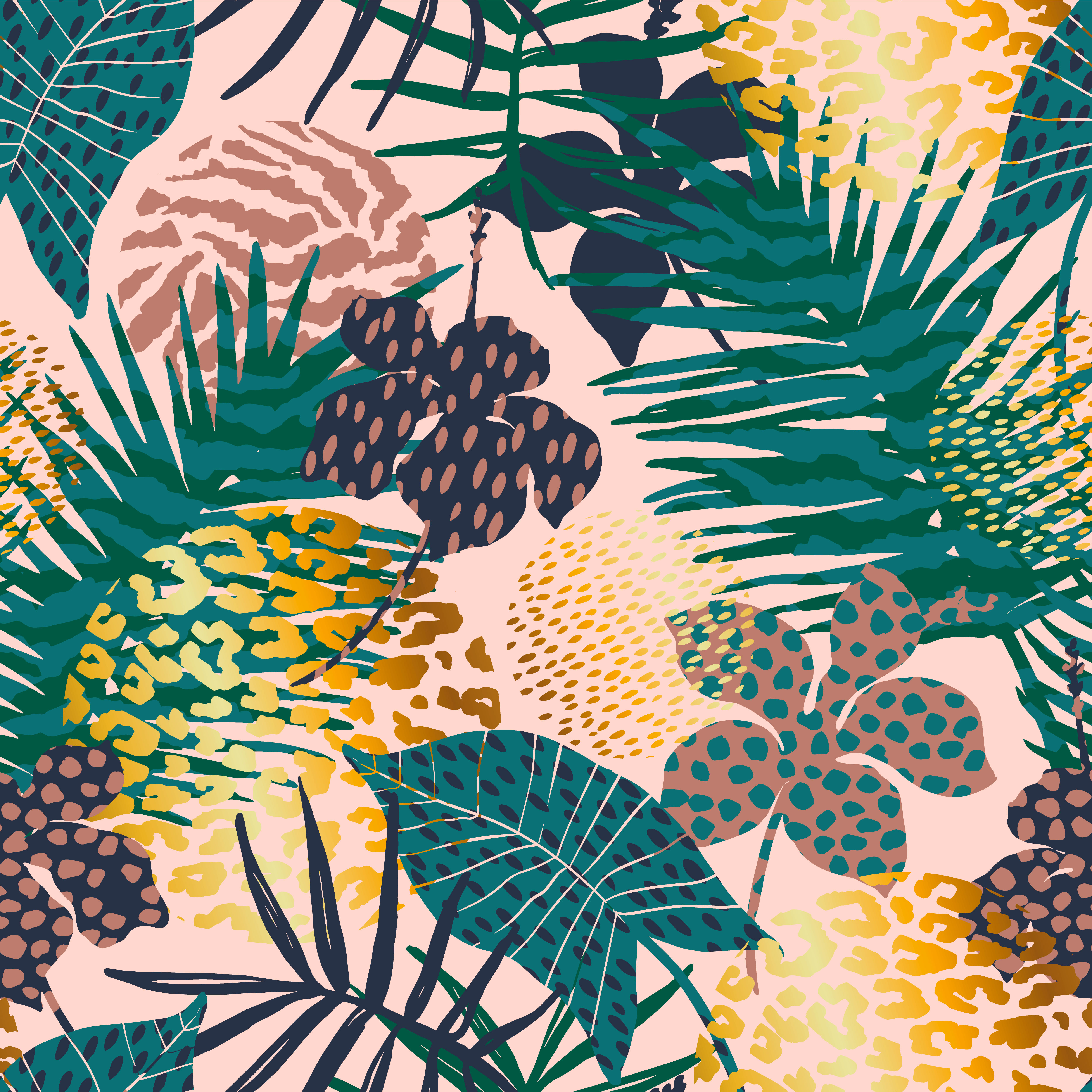 Beach Logo Vectors: Trendy Seamless Exotic Pattern With Palm, Animal Prints